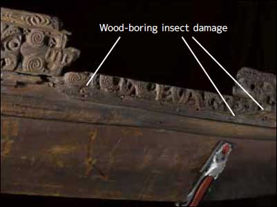 Detail showing incomplete starboard Rauawa and Taka nailed to hull