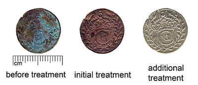 Electrolytic cleaning of a group A coin (SM10588:490) in 2% solution of sodium hydroxide. Additional treatment - sodium persulfate solution.