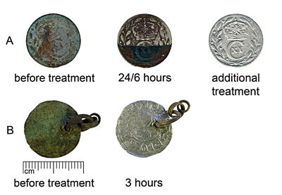 Cleaning of group A (SM10588–928) and B (AI7072:2) coins with 10% solution of acetic acid. Additional treatment of coin A - formic acid solution.