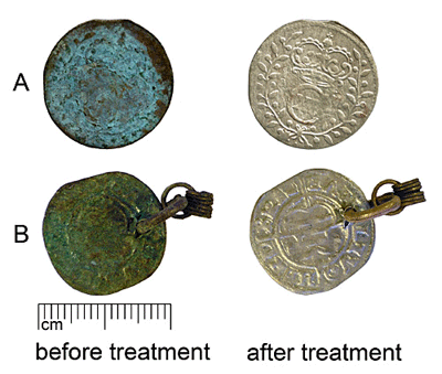 Cleaning of group A (SM10588–927) and B (AI7072:1) coins with 10% solution of formic acid. Treatment of coin A - 24h, B - 30 min.