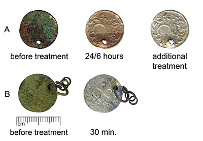 Cleaning of group A (SM10588:338) and B (AI7072:3) coins with 10% solution of EDTA. Additional treatment of coin A - formic acid solution.