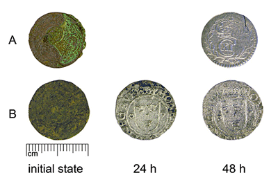 Cleaning of group A (AI7069:2) and B (HMK:467) coins with 30% solution of sodium tiosulphate.
