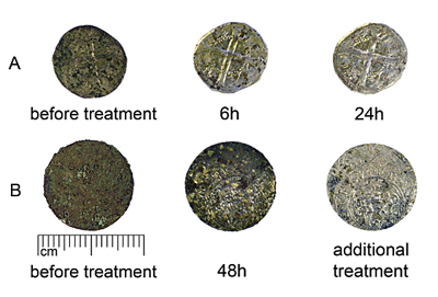 Cleaning of group A (HMK:477) and B (HRP:101) coins with alkaline dithionite. Additional treatment - formic acid solution.