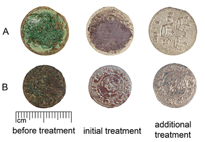 Cleaning of group A (KRN:01) and B (SM 10663:1809) coins with alkaline Rochelle salt. Initial treatment of group A coin - 24 hours; additional treatment - sodium tiosulphate solution. Initial treatment of group B coin - 6 hours; additional treatment - formic acid solution.