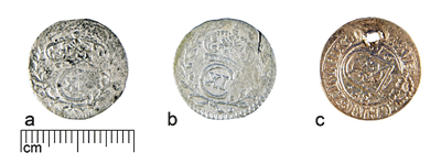 Coins of group A from the same hoard after different treatment (a - AI7069:1, thiourea solution; b - AI7069:2, sodium tiosulphate solution; c - AI7069:3, electrolysis in sodium carbonate solution).