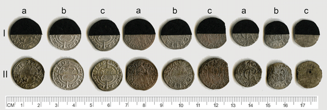 The effect of light on coated and uncoated coins: I  - before the experiment, II  - after the experiment; a  – uncovered, b  – Paraloid B-72, 15% solution, c  – microcrystalline wax.