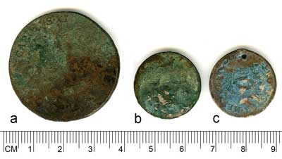 Analysed coins form the Kaarma hoard: a - SM 10588:5, b - SM 10588:405, c - SM 10588:406.