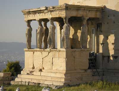 the caryatids in the new acropolis museum out of sight out of